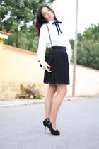 black Zara heels - black Zara skirt - white Massimo Dutti blouse
