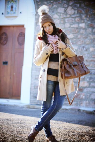 brown H&M hat - camel Tommy Hilfiger coat - navy Fornarina jeans