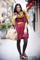 ruby red Vero Moda dress - beige pieces bag - dark brown Amberone loafers
