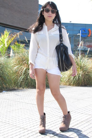 asos wedges - Zara bag - Topshop blouse