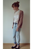 white H&M shirt - periwinkle washed H&M jeans - light pink Mango cardigan