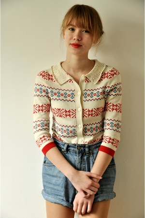 Topshop sweater - thrifted vintage shorts
