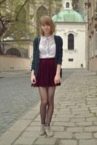 velvet American Apparel skirt - H&M shirt - Topshop cardigan