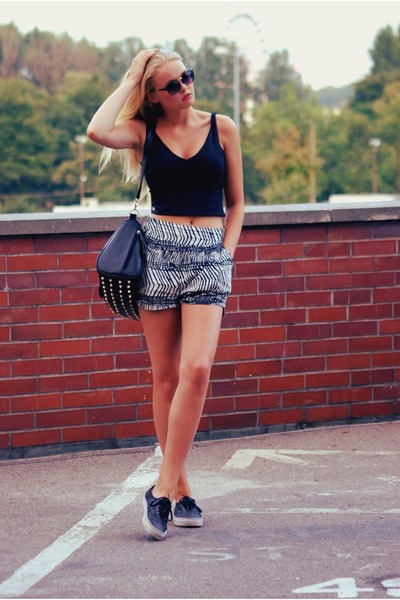 Vans shoes - allegro bag - white h&m divided shorts - black no name top
