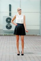 black cocktail shock skirt - black new look boots - white new look shirt