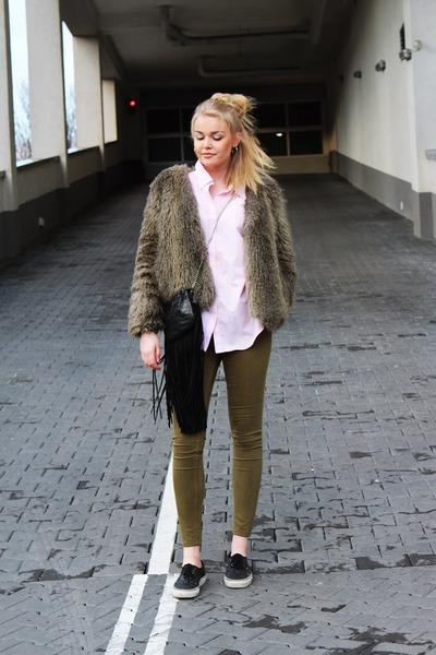 black Vans shoes - beige H&M coat - light pink Ralph Lauren shirt