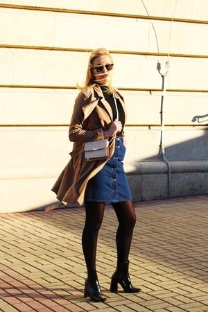 Zara boots - Topshop coat - Zara bag - Bershka skirt