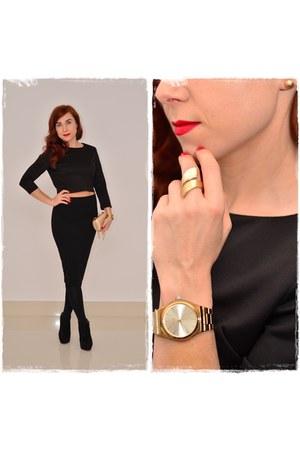 gold Parfois bag - black Orsay skirt - gold Parfois watch