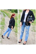 black Pimkie jacket - blue Stradivarius jeans - black Parfois bag