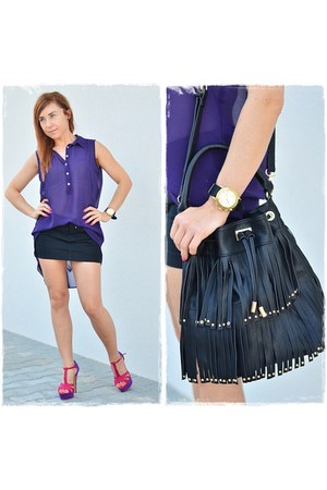 black Stradivarius bag - purple F&F shirt - black reserved skirt