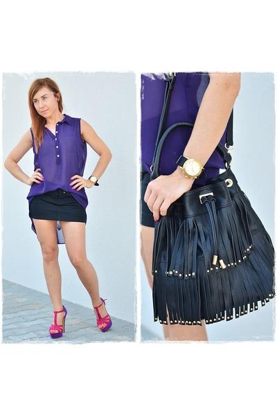 black Stradivarius bag - purple F&F shirt - black reserved skirt
