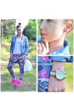 white paulinaschaedelcom bag - sky blue F&F jacket - white Michael Kors watch