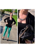 black Parfois bag - black ray-ban glasses - turquoise blue Orsay pants