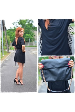 black Sheinside dress - black Parfois bag - gold Parfois watch