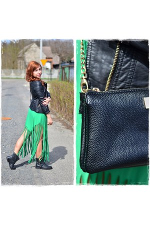 black reserved boots - green DIY dress - black Pimkie jacket - black Mohito bag