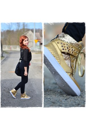 black Pimkie pants - black Pimkie watch - gold Sellyo sneakers