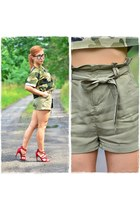 olive green Sheinside blouse - black Mohito bag - olive green Bershka shorts
