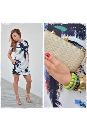 gold Parfois bag - white Sheinside dress - gold Parfois watch