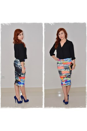 black DIY skirt - black Hypnose shirt - black Parfois bag - blue Aldo heels