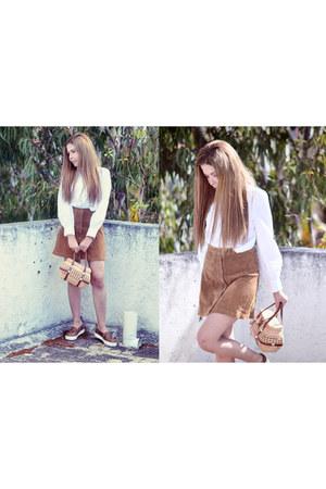 burnt orange suede Zara skirt