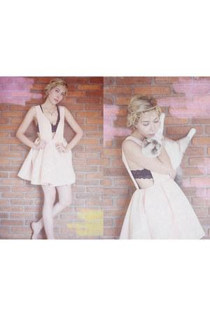 light pink v neck Sheinside dress - mustard asos hair accessory