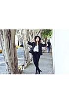 black Zara boots - white free people blouse