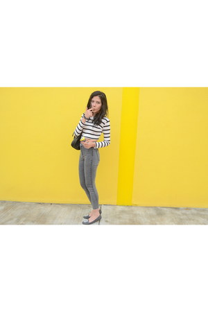 white Forever 21 top - silver pull&bear pants - charcoal gray Steve Madden flats
