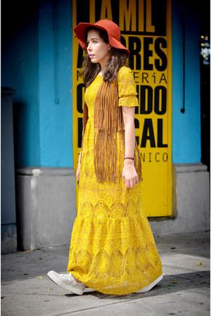 yellow lace For Love and Lemons dress - burnt orange Zara vest