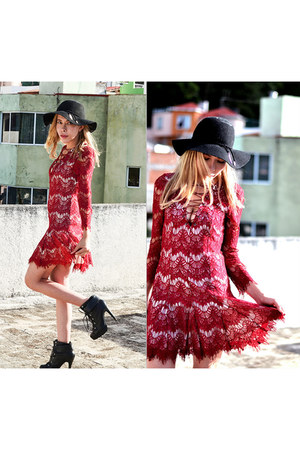 black asos boots - red lace Sheinside dress