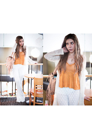 light orange crochet romwe top
