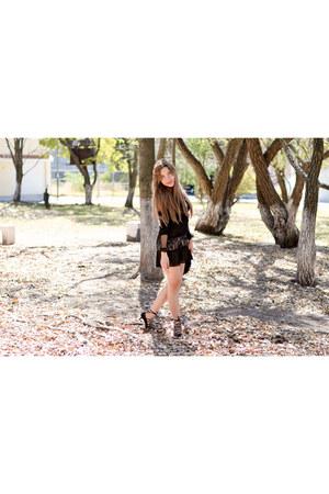 black lace For Love & Lemons dress - black bralette For Love & Lemons blouse