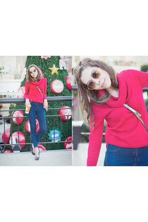 navy high waisted Bershka jeans - red turtleneck Forever 21 sweater