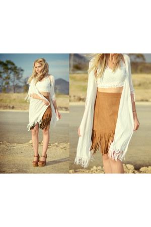 white lace romwe jacket - mustard fringes romwe skirt - white bralet romwe bra