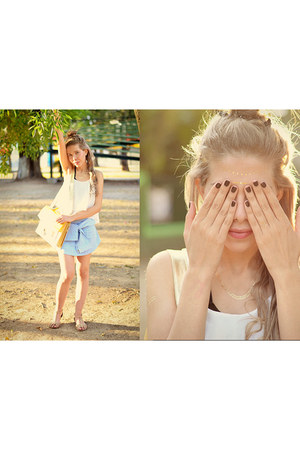 white crop top Sheinside blouse - yellow Chulel bag - sky blue romwe skirt