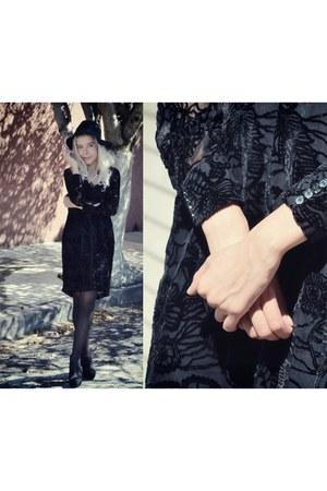 black velvet SILK NY dress - dark gray romwe hat