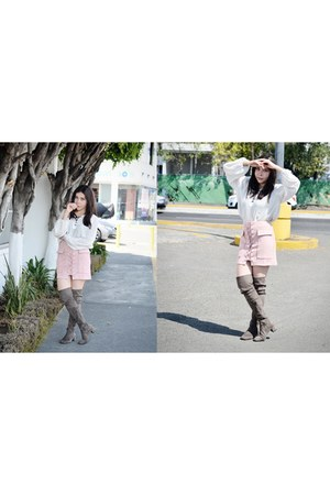 silver high Jeffrey Campbell boots - light pink lace romwe skirt