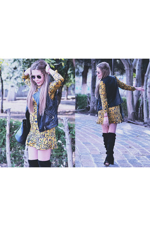 black romwe boots - mustard Chicwish dress - black romwe vest