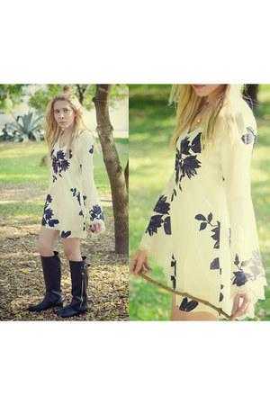 black Stradivarius boots - white Sheinside dress
