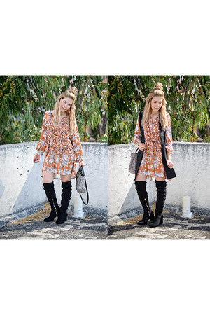 orange romwe dress - mustard romwe coat - black romwe vest