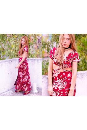 red floral cut out romwe dress