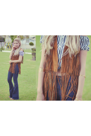navy flare Forever 21 jeans - burnt orange Zara vest