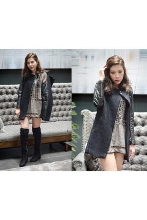 heather gray Sheinside dress - black romwe coat