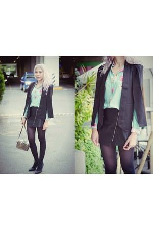 black Sheinside blazer - silver mini stag etienne aigner bag