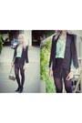 Black-sheinside-blazer-silver-mini-stag-etienne-aigner-bag