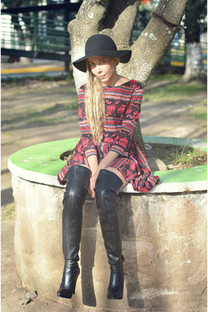 black legging boots Andrea boots - maroon romwe dress - black H&M hat