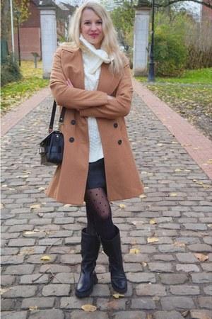 camel etam coat - ivory shein sweater - camel acne scarf
