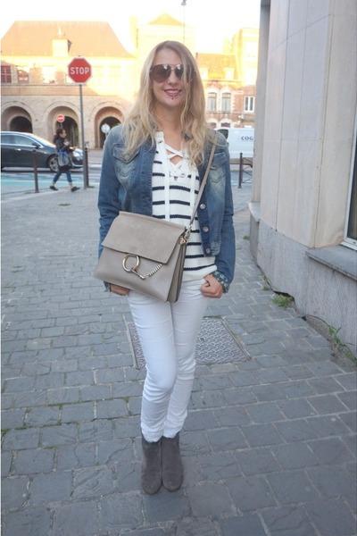 gray Isabel Marant boots - blue Pimkie sweater - gray Chloe bag