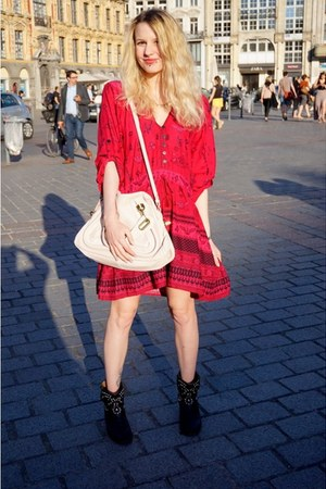 black Isabel Marant boots - red Spell and the Gypsy dress - light pink Chloe bag