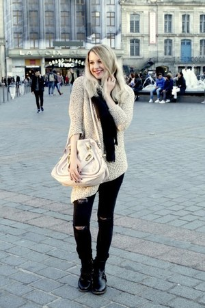 black Zara jeans - dark khaki Zara sweater - light pink Chloe bag