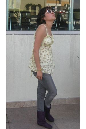 yellow Forever 21 blouse - purple Zara boots - gray Diesel jeans - white friends